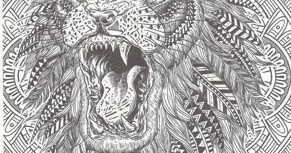 Lion Abstract Doodle Zentangle Coloring Pages Colouring