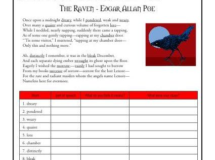 the raven school worksheets context clues and worksheets. Black Bedroom Furniture Sets. Home Design Ideas