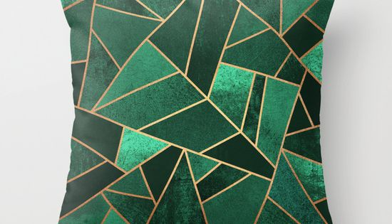 Emerald and Copper Throw Pillow Copper Decor room and