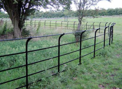 Traditional Wrought Iron Stud Estate Fencing With Curved Top Rail