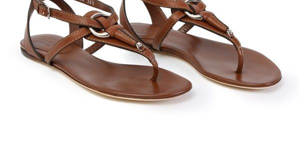 Beach sandals - Gucci Brown Leather Sandal found on Polyvore