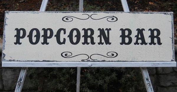 popcorn bar sign vintage  victorian style for wedding