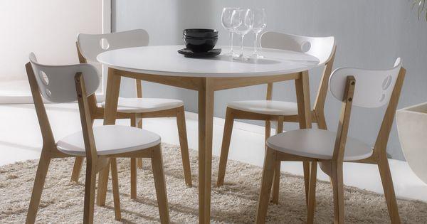 Ensemble table de salle manger ronde et 4 chaises en for Ensemble table ronde 4 chaises