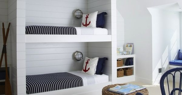 Source Lynn Morgan Design Nautical Boys 39 Bedroom With Tongue And Groove Paneled Built In Bunk