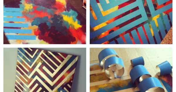 Diy painting paint canvas with colors tape design with for Spray paint designs with tape