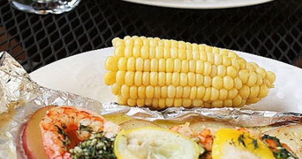 GRILLED NEW ENGLAND SEAFOOD BAKE -- white fish, shrimp, potatoes, corn ...