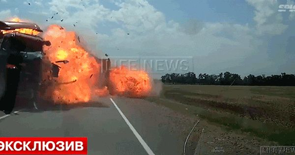Two Trucks Crash And Immediately Blow Up In A Terrifying Explosion
