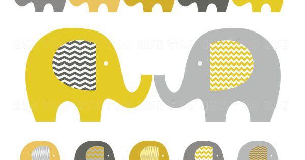 Elephant Clip Art Baby Elephant Clipart Chevron Mustard