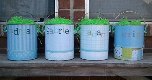 Easter Baskets Buckets Made Fr Paint Cans Fr Home Depot I Used Craft Paper Scrapbook Stickers