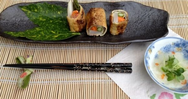 Hot Aburage Rolls with 3 Kinds of Daikon and Asparagus & Carrot ...