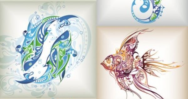 delicate patterns of marine life vector...Would make amazing tattoos, my favorite is