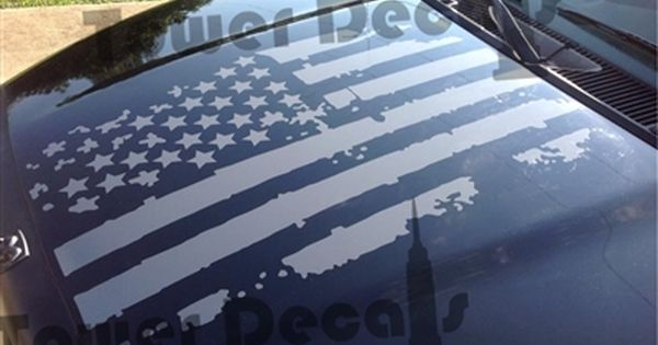 Distressed American Flag Hood Decal fits Dodge Ram | truck ...
