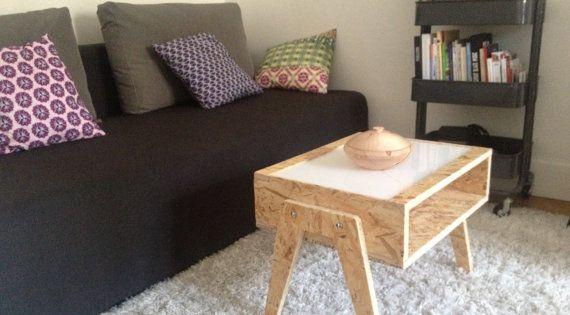 Table Basse Osb Plexi Blanc Par Mixwood Sur Etsy Osb Furniture Diy Furniture Cheap Diy Furniture Renovation