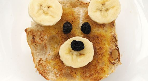 Teddy Bear Toast! All you need are bread, banana, raisin, butter, sugar