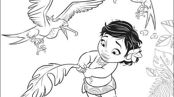 Moana Dibujos Colorear Princesa Disney: Moana Disney Bebe Para Pintar Colorear Imagenes
