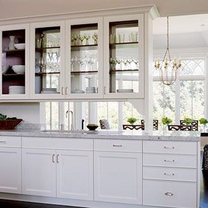 Glass On Both Sides On The Cabinets Over A Peninsula Not All The Way To The Walk Thru To A Upper Kitchen Cabinets Glass Upper Cabinets Glass Kitchen Cabinets