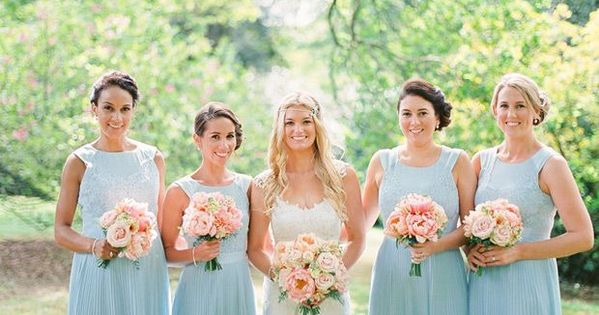 Pink Wedding Dresses Ireland : Do light blue bridesmaid dresses irish and pink bouquet