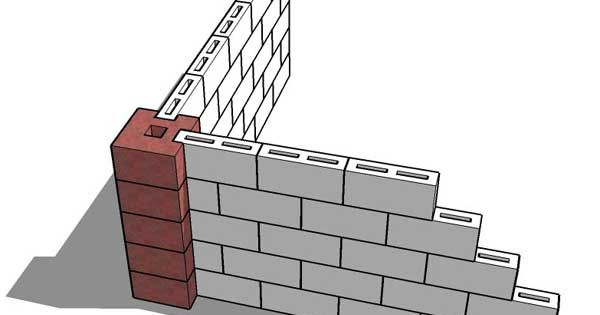 Cmu Wall Concrete Masonry M4 Wall Pillar Corner Block From A Doubell Block Exterior