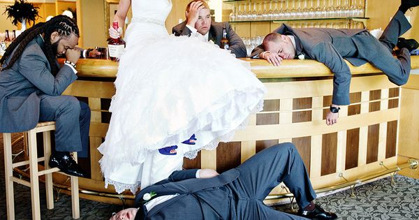 Funny Wedding Photos - Funny Wedding Pictures - the bride drinking the