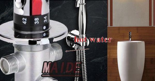 Brass Toilet Hand Held Bidet Spray Shattaf Sprayer Shower Set Jet Douche Kit Brass Holder Thermostatic Mixing Valve Affiliate Bidet Spray Shower Set Bidet