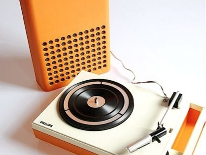 1970s Orange Philips 113 Portable Record Player with detachable speaker.