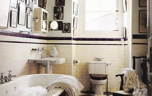 LOVE the black and white tile for the vintage bathroom upstairs!!