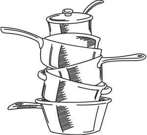 Pots And Pans Stack Pots And Pans Embroidery Designs Embroidery