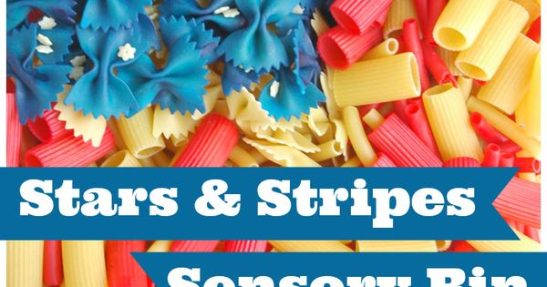 "Fourth of July ""Stars and Stripes"" Sensory Bin made from dyed pasta."