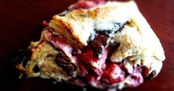 Strawberry Dark Chocolate Chunk Scones | Roasted Strawberries, Scones ...