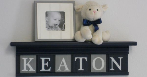 navy and gray nursery decor baby boy gift personalized. Black Bedroom Furniture Sets. Home Design Ideas