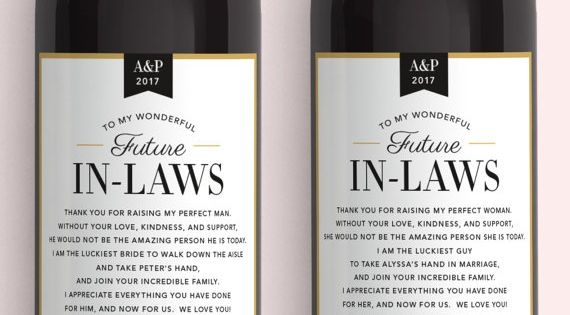 Wedding Gifts For Parents In Law : In Law Wine LabelsWedding Gifts for the Parents of the Bride and ...