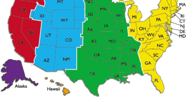 Us Time Zones Est Cst Mst Pst Hst And Akst Time Zone Map