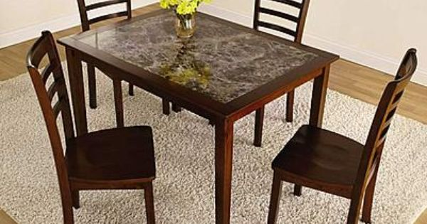 Essential Home Jackson 5 Pc Faux Marble Dining Set 2 Kmart