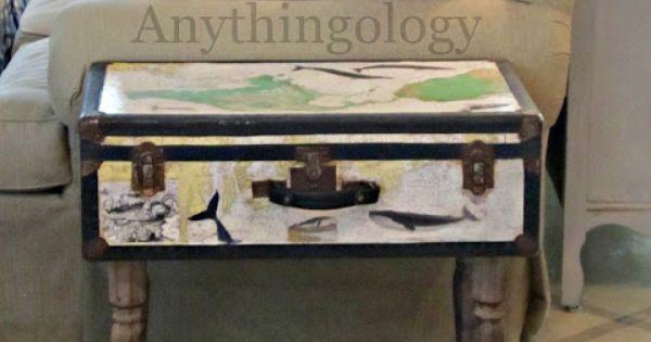 Mesa auxiliar hecha con una maleta antigua diy upcycling - Mesas auxiliares antiguas ...