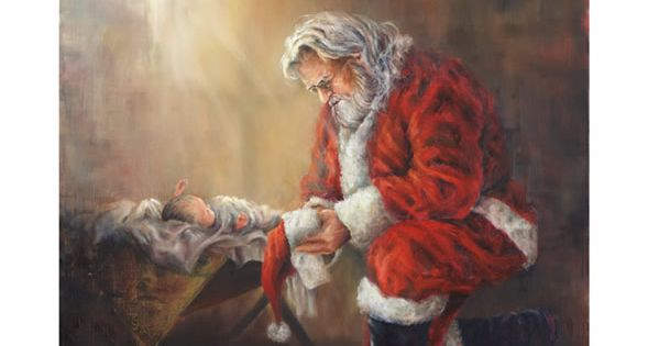 Santa and Baby Jesus. I love the symbolism here of commercialization of
