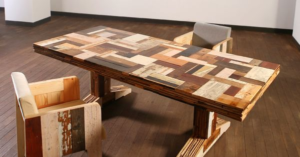 scrap wood table and chairs  테이블 책상  Pinterest  책상, 러스틱 가구 ...