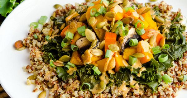 Vegan blog Steamed Butternut Squash with Quinoa & Southwestern Tahini Sauce