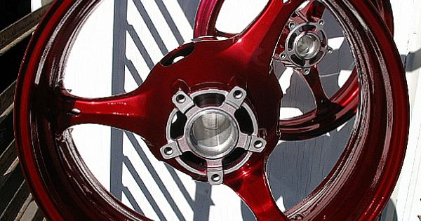 black with red paint jobs on motorcycles sport bike rims in candy