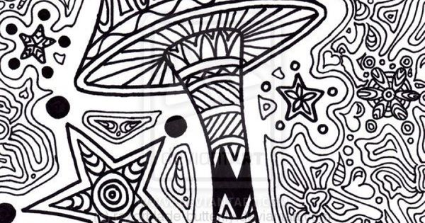 Trippy Mushroom Coloring Page Coloring Pages Pinterest