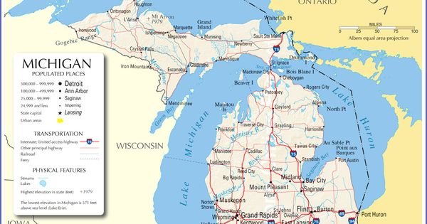 Physical Map Of Michigan Ezilon Maps Cities Of Michigan Map - Physical features of the us map