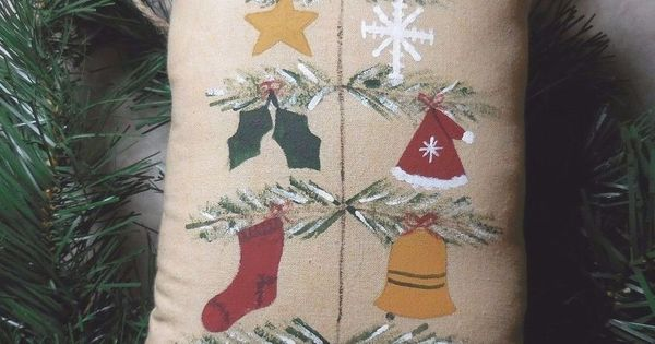 Primitive Folk Art CHRISTMAS Feather Tree & Ornaments