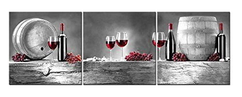 Red Wine Bottle Barrel Grape Print Painting Canvas Wall Art Dining Room Kitchen