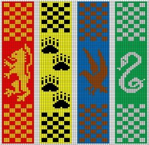 Hogwarts Double Knitted Bookscarves The Leaky Cauldron Harry Potter Perler Beads Harry Potter Scarf Cross Stitch Bookmarks