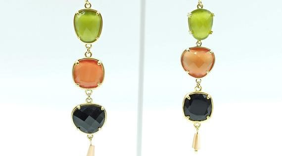 Yellow Picasso and Jade Earring with a touch of red
