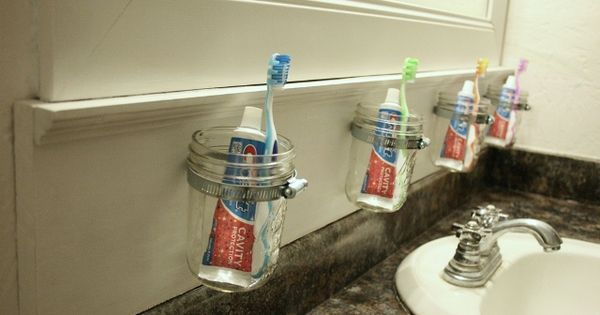 Mason jar bathroom storage! what a great idea!