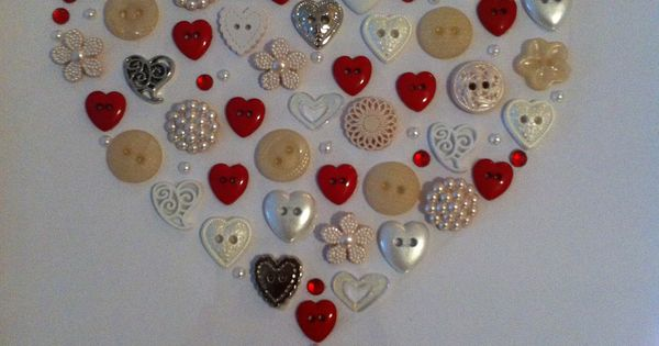Unusual Ruby Wedding Gifts: Framed Heart Button Artwork