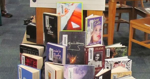 Dear Diary library book display. Books written in 1st person perspective, most