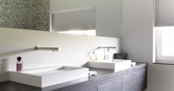 Prachtige badkamer met donker badkamermeubel en halfinbouw lavabo bathroom pinterest - Badkamer donker ...