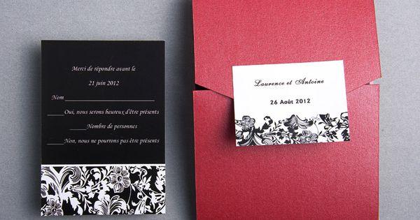 Faire Part Mariage Noir Et Blanc Classique Pochette Rouge Chic Jm316 Faire Part Mariage Poche