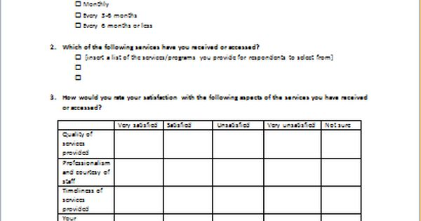 Client Satisfaction Survey Form Download At Http Www